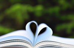Bücher auf Tabelle im Garten mit der Spitze geöffnet und den Seiten, die Herz bilden Lizenzfreie Stockfotografie