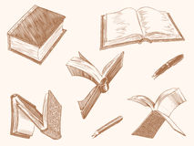 Bücher, Buchstaben, Stift und Bleistift ähnelnd Von Hand gezeichnet Gesicht der illustration Retro- Stich der Weinlese Lizenzfreies Stockbild