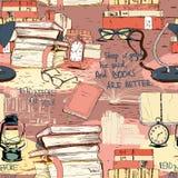 Bücher, die nahtlosen Hintergrund lesen Lizenzfreie Stockfotos