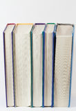 Bücher, die vertikal stehen stockbild