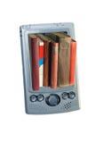 Bücher in einem Taschencomputer Stockfotografie