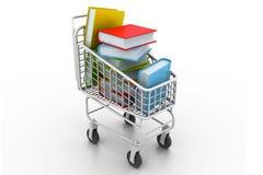 Bücher in einer Einkaufslaufkatze Stockbilder