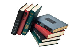Bücher in einer Reihe, alle gebundenen Bücher Stockfoto