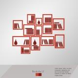 Bücher gesetzt auf ein Bücherregal Lizenzfreies Stockfoto