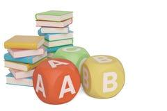 Bücher mit ABC-Würfeln auf weißem Hintergrund Abbildung 3D stock abbildung