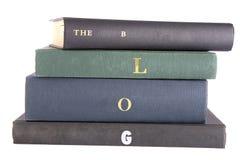Bücher mit dem Wörter âThe Blogâ buchstabiert auf dem Dorn Stockbild