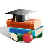 Bücher mit Hut und Apfel lizenzfreie abbildung