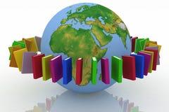 Bücher ringsum die Erde Stockfotos