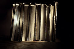 Bücher, stehend auf einem Bücherregal im Wandschrank Stockfotografie