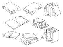 Bücher stellten grafisches schwarzes Weiß lokalisierten Skizzenillustrationsvektor ein lizenzfreie abbildung