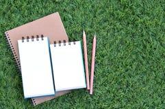 Bücher und Bleistifte auf dem Rasen Lizenzfreie Stockfotos