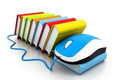 Bücher und Computermaus lizenzfreie abbildung