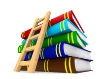 Bücher und Treppenhaus auf weißem Hintergrund Lokalisiertes illustratio 3D Stockbilder