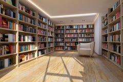 Bücherregal in der Bibliothek lizenzfreie abbildung