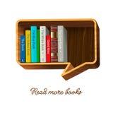 Bücherregal in Form von Spracheblase. Lizenzfreie Stockbilder