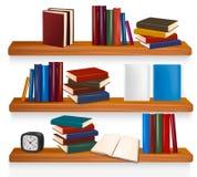 Bücherregal mit Büchern. Vektor Stockfoto