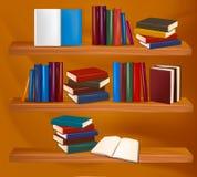 Bücherregal mit Büchern. Vektor Stockbild