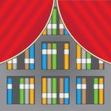 Bücherregale und Vorhänge lizenzfreie abbildung