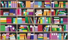 Bücherregalhintergrund Regale voll von bunten Büchern Hauptbibliothek mit Büchern Nahe hohe Illustration des Vektors Karikatur-De Stockfoto