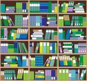 Bücherregalhintergrund Regale voll von bunten Büchern Hauptbibliothek mit Büchern Nahe hohe Illustration des Vektors Karikatur-De Stockfotos