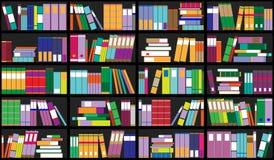 Bücherregalhintergrund Regale voll von bunten Büchern Hauptbibliothek mit Büchern Nahe hohe Illustration des Vektors Karikatur-De stockbild