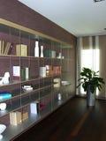 Bücherschrank in einer modernen Wohnung Stockbilder