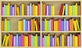 Bücherschrank mit mehrfarbigen Büchern Lizenzfreie Stockfotos
