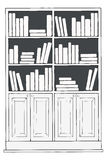 Bücherschrank oder Bücherregal Stockfotos