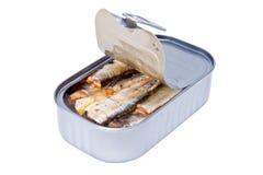 In Büchsen konservierte Nahrung der Fische Stockbilder
