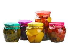 In Büchsen konservierte Obst und Gemüse Stockfoto