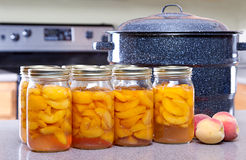 In Büchsen konservierte Pfirsiche mit großem Potenziometer oder Konservenfabrikanten Lizenzfreie Stockfotografie