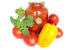 In Büchsen konservierte Tomaten Lizenzfreies Stockfoto