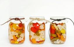 In Büchsen konserviertes selbstgezogenes in Essig eingelegtes Gemüse Stockfotos