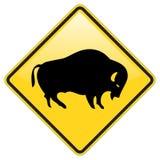 Büffelüberfahrt-WARNING Stockbild