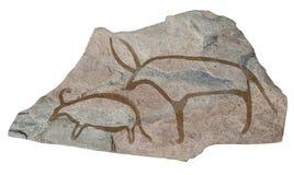 Büffel. Alte alte Petroglyphe Stockfotos