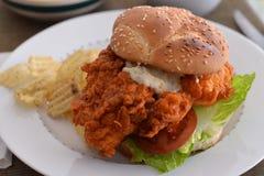 Büffel-belegtes Brot mit Hühnerfleisch 2 Stockfoto