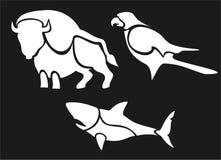 Büffel, Falke, Haifisch, Piktogramm Stockfotografie