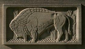Büffel geätzt im Stein stockfotografie