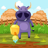 Büffel mit Bewässerungsdose stock abbildung