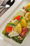 Büffel-Mozzarella-Basilikumsalat Lizenzfreie Stockfotos