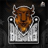 Büffelkopf mit Hörnern Logo für irgendwelche Sportteambisone stock abbildung