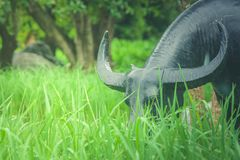 Büffelstatue, die auf grünem Gras im Reis archiviert steht Lizenzfreie Stockfotografie