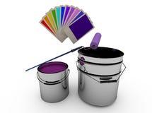 Bügeln Sie Dosen mit Farbe, Rolle und einer hellen Palette von Farben stock abbildung