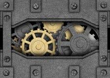 Bügeln Sie Hintergrund mit Metallgängen, alten Mechanismus Stockfotos