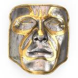 Bügeln Sie Maske auf Gesicht, mit Goldeinsätzen auf lokalisiertem weißem Hintergrund Abbildung 3D Lizenzfreies Stockfoto
