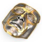 Bügeln Sie Maske auf Gesicht, mit Goldeinsätzen auf lokalisiertem weißem Hintergrund Abbildung 3D Lizenzfreie Stockbilder