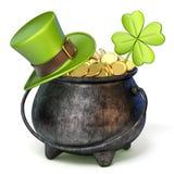 Bügeln Sie Topf voll goldene Münzen, grünen St- Patrick` s Tageshut und c Lizenzfreie Stockbilder