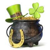 Bügeln Sie Topf voll goldene Münzen, grüner St- Patrick` s Tageshut, clov Stockfotos