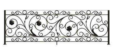 Eisenzaun mit Blumen und Blättern Vektor Abbildung