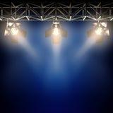 Bühne hinter dem Vorhangscheinwerfer. Lizenzfreie Stockbilder